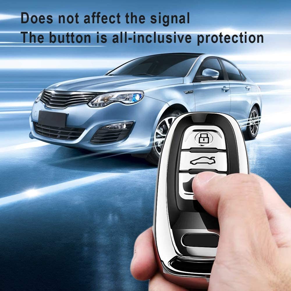 Special Soft TPU Key Case Cover Protector Compatible with Audi A4 Q7 Q5 TT A3 A6 SQ5 R8 S5 Smart Key Longzheyu for Audi Key Fob Cover Pink