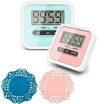 CKANDAY 2 Paquete temporizador de cocina digital con 2 mini posavasos de té, reloj con