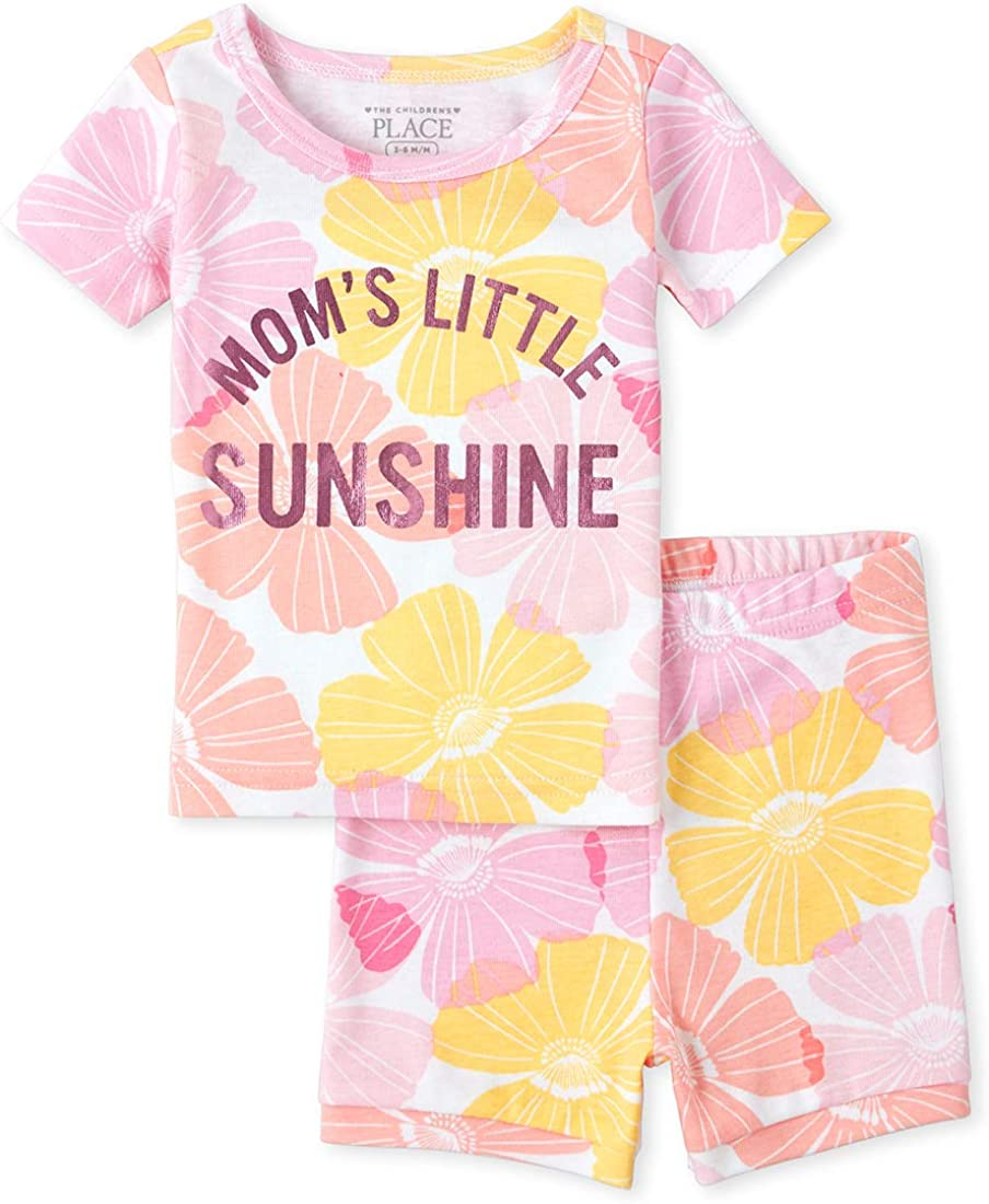 The Childrens Place Baby Girls Sleeve Top and Shorts Pajama Set