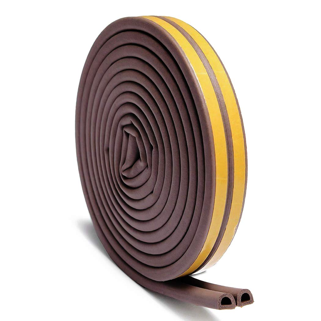2PC 5m/16ft P/D/E-Type Foam Weather Stripping Window Draught Excluder Seal Strip Guard with Self Adhesive for Door Frame KRW LTD