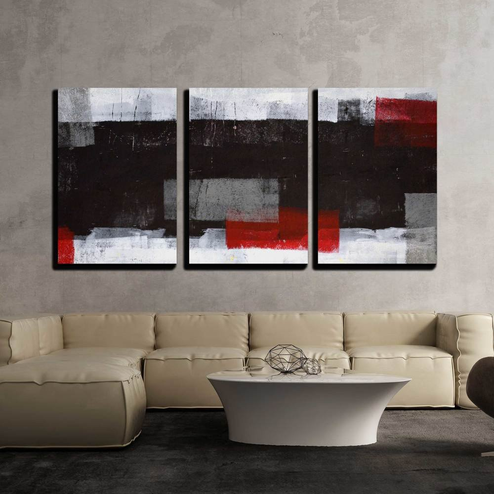 "wall26 - Grey and Red Abstract Art - Canvas Art Wall Decor - 16""x24""x3 Panels"