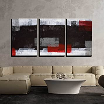 Wall26 Grey And Red Abstract Art Canvas Art Wall Decor 16 X24 X3 Panels