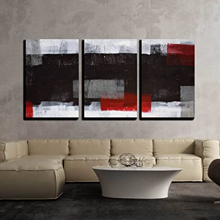 wall26 – Grey and Red Abstract Art – Canvas Art Wall Decor – 16 x24 x3 Panels