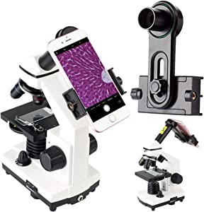 2019 New Version Microscope Lens Adapter, Microscope Smartphone Camera Adaptor - for Microscope Eyepiece Tube 23.2mm, Built-in WF 16mm Eyepiece - Capture and Record The Beauty in The Micro World