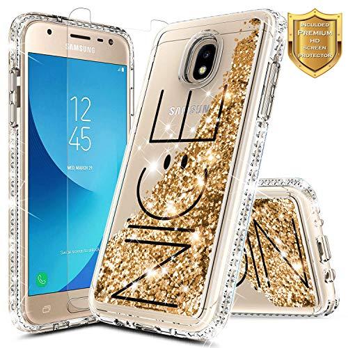 Case Stars Protector Design (NageBee Samsung Galaxy J3 2018 Case, J3 Achieve/J3 Star/Express Prime 3/Amp Prime 3/Sol 3/J3 V 3rd Gen/J3 Orbit/J3 Aura w/[Tempered Glass Screen Protector] Glitter Liquid Quicksand Cute Case -Nice)