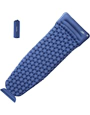 OlarHike Camping Sleeping Pad for Backpacking, Ultralight & Compact Camping Pad with Pillow, Inflatable Sleeping Mat for Hiking, Travelling-Blue/Green/Orange