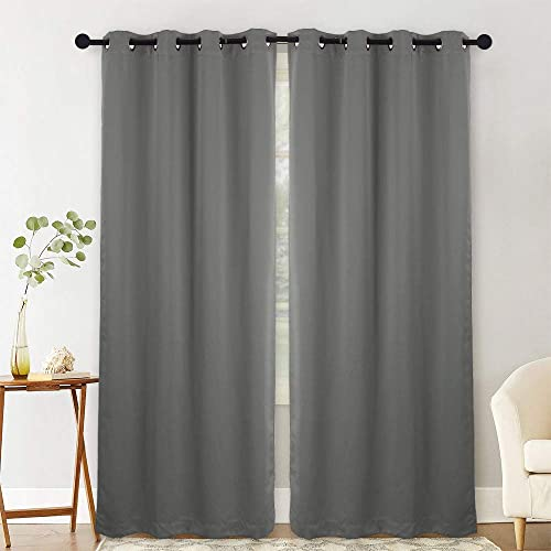 NANAN Blackout Curtains,Thermal Insulated Grommet Blackout Curtain Panels Window Drapes for Living Room,Solid Room Darkening Energy Efficiency Window Treatment – W52 x L84 Inch,2 Panels, Dark Grey