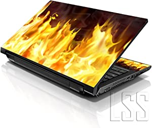 "LSS 15 15.6 inch Laptop Notebook Skin Sticker Cover Art Decal Fits 13.3"" 14"" 15.6"" 16"" HP Dell Lenovo Apple Asus Acer Compaq (Free 2 Wrist Pad Included) Flame"
