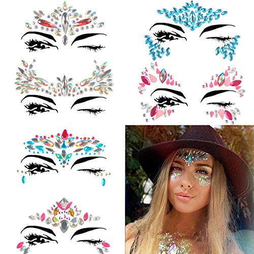 COKOHAPPY 6 Sets Rhinestone Mermaid Face Jewels Tattoo - BODY STICKERS Crystal Tears Gem Stones Bindi Temporary Stickers (Collection 3)