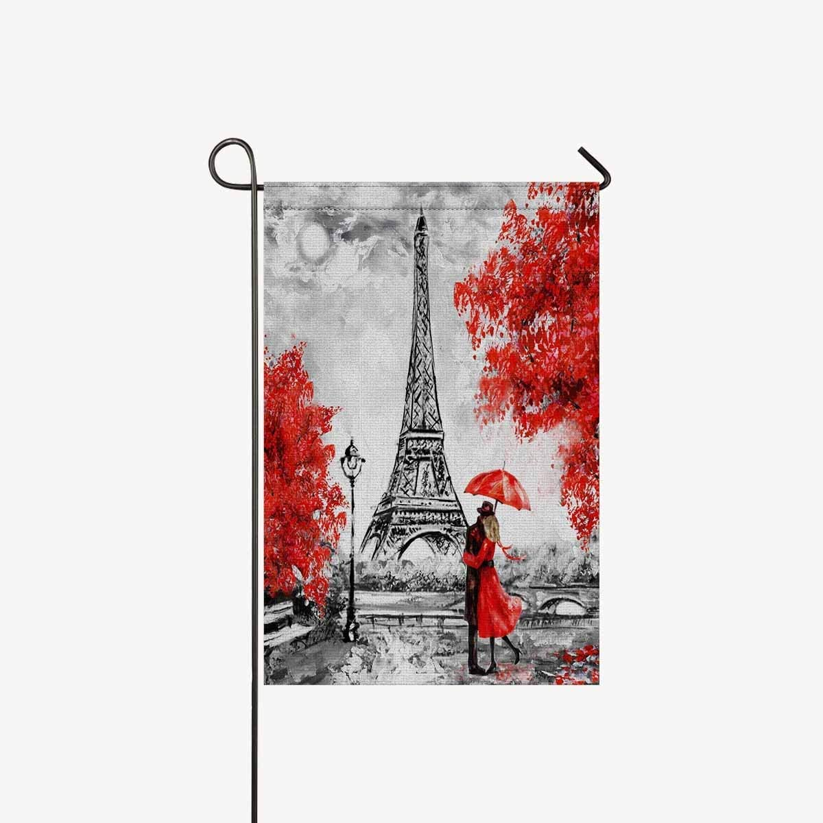 """TAOGAN Elegant Paris Eiffel Tower Couple Red Umbrella Trees Double-Sided Garden Flags House Banner Decorative Flags Home Outdoor Valentine,Welcome Holiday Yard Flags 12"""" x 18"""" (Without Flagpole)"""