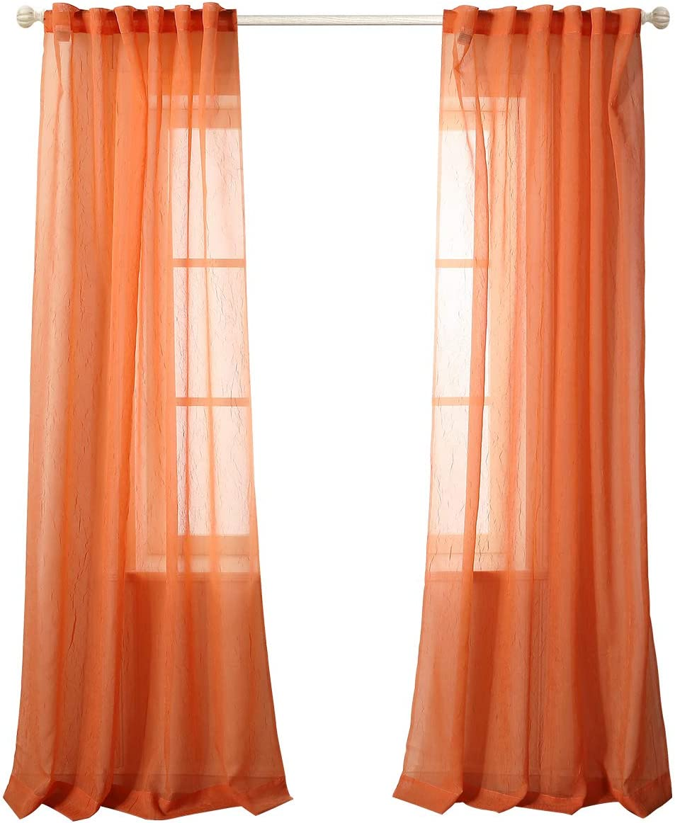 MYSKY HOME Crushed Voile Sheer Curtains for Living Room Back Tab and Rod Pocket Window Treatment Crinkle Sheer Curtains(2 Panels, 51