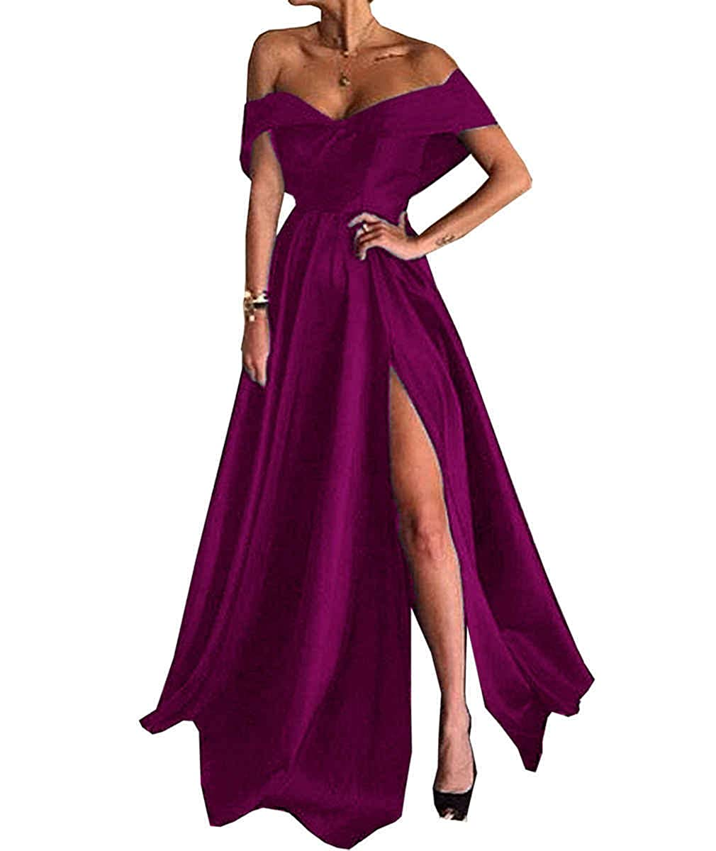 Fuchsia JQLD Womens Long Slit Evening Dress Off Shoulder A Line Satin Prom Cocktail Gown