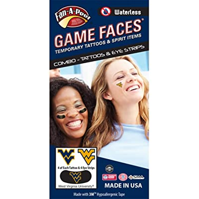 West Virginia University (WVU) Mountaineers – Waterless Peel & Stick Temporary Tattoos – 12-Piece Combo – 4 Blue & 4 Gold WV Logo Spirit Tattoos & 4 Blue/Gold WV Logo on Black Eye Strips: Toys & Games