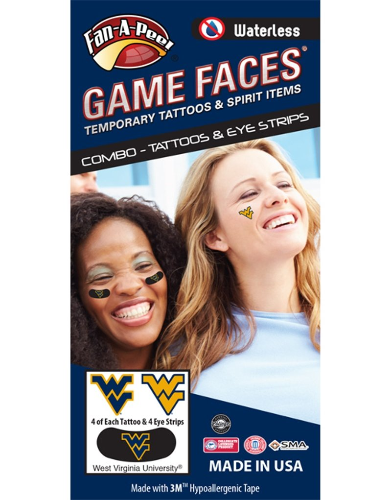 West Virginia University (WVU) Mountaineers - Waterless Peel & Stick Temporary Tattoos - 12-Piece Combo - 4 Blue & 4 Gold WV Logo Spirit Tattoos & 4 Blue/Gold WV Logo on Black Eye Strips