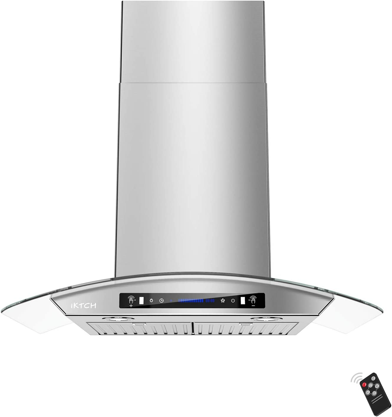 IKTCH 36-inch Wall Mount Range Hood Tempered Glass 900 CFM, Kitchen Chimney Vent Stainless Steel with Gesture Sensing & Touch Control Switch Panel, 2 Pcs Adjustable Lights