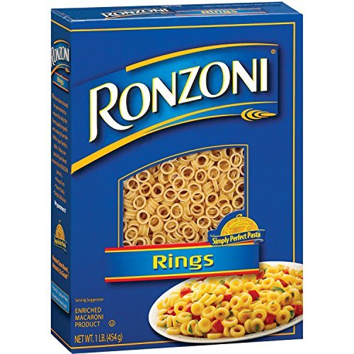Ronzoni Rings Enriched Macaroni Non GMO 16 Oz. Pack Of 3.