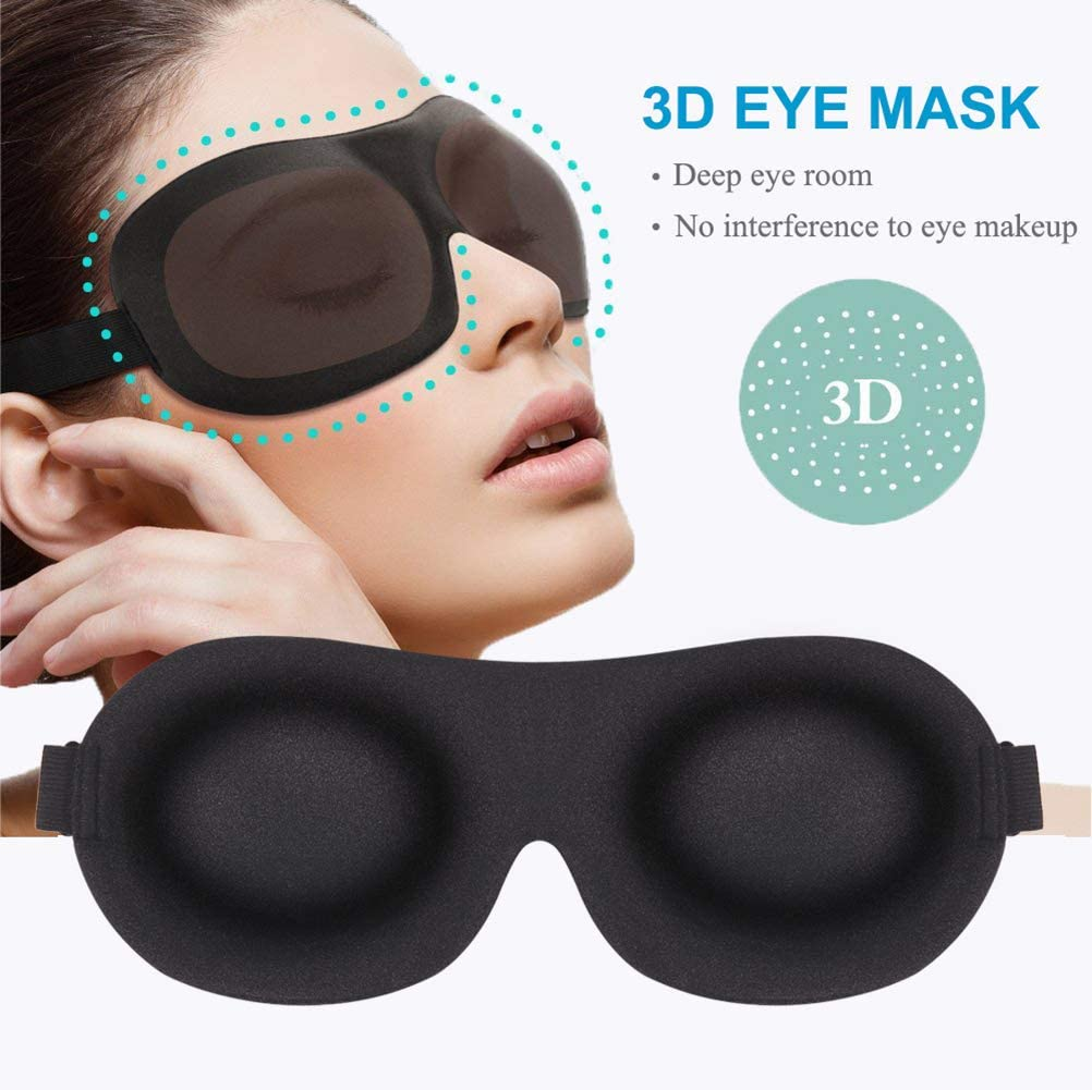 Sleep Mask 3 Pack, Upgraded 3D Contoured 100% Blackout Eye Mask for Sleeping with Adjustable Strap, Comfortable & Soft Night Blindfold for Women Men, Eye Shades for Travel/Naps, Black/Purple/Blue: Health & Personal Care