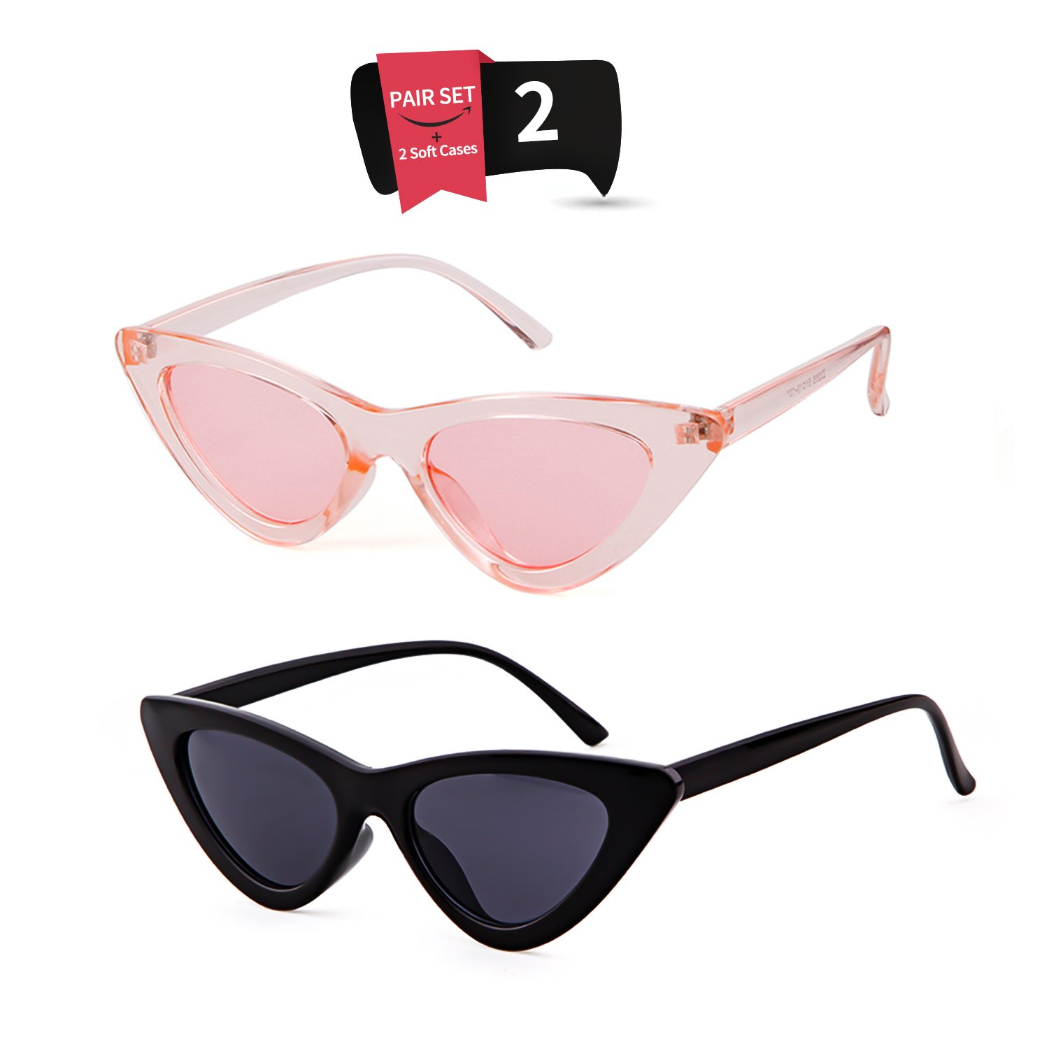 Gifiore Retro Vintage Cat Eye Sunglasses for Women Clout Goggles Plastic Frame Glasses (Black&Pink, 51)