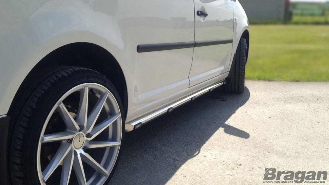 Bragan BRA3721FLW Van Side Bars Tubes Steps Skirts Silver Stainless Steel White LEDs Fitting Kit