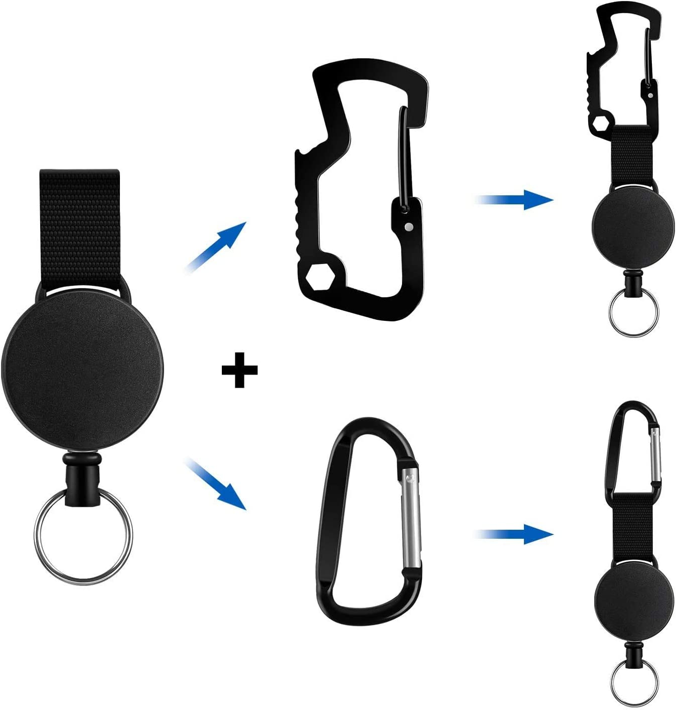 Porte Badge Enrouleur Retractable,R/étractable Robuste R/étractable Porte-cl/és,Badge Retractable,Retractable Key Chain,Clip Porte Badge,Bobine R/étractable