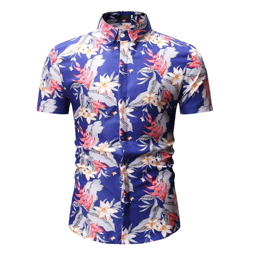 Xlala Men's Short Sleeve Retro Printed Casual Button Down Standing Collar Shirt Gorgeous Hippie Top Beach Vacation Style Novelty Clothing (Blue, M)