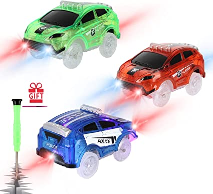 with 5 LED Flashing Lights Magic Toys Accessories Compatible with Most Tracks for Ages 3 4 5 6 7 Kids 3 Pack Racing Car, Police Car, Fire Truck Car Track Cars