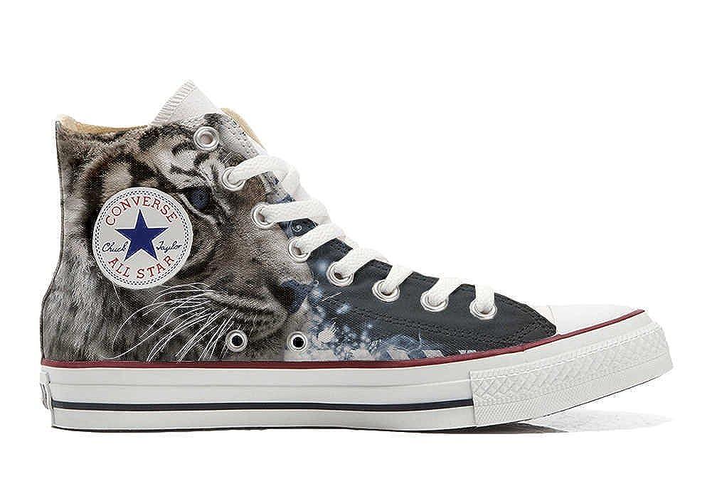 Schuhe Custom Converse All Star, personalisierte Schuhe (Handwerk Produkt customized) Tiger blauen Augens  33 EU