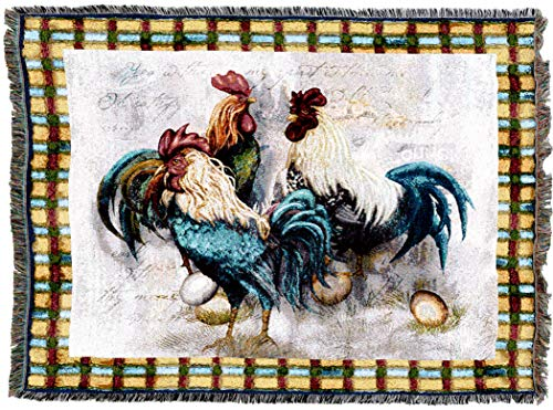 - Pure Country Weavers | Rooster Trio Woven Tapestry Throw Blanket Cotton with Fringe Cotton USA 72x54