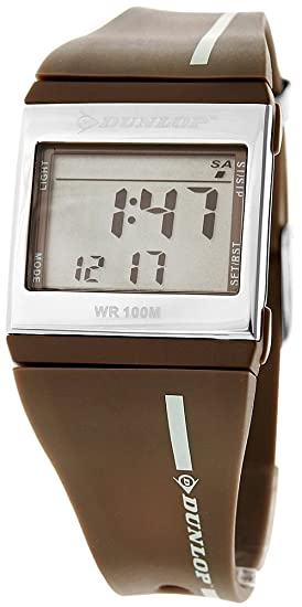 Dunlop DTREND3 - Reloj digital de mujer de cuarzo con correa de goma marrón (alarma, cronómetro, luz) - sumergible a 100 metros: Amazon.es: Relojes
