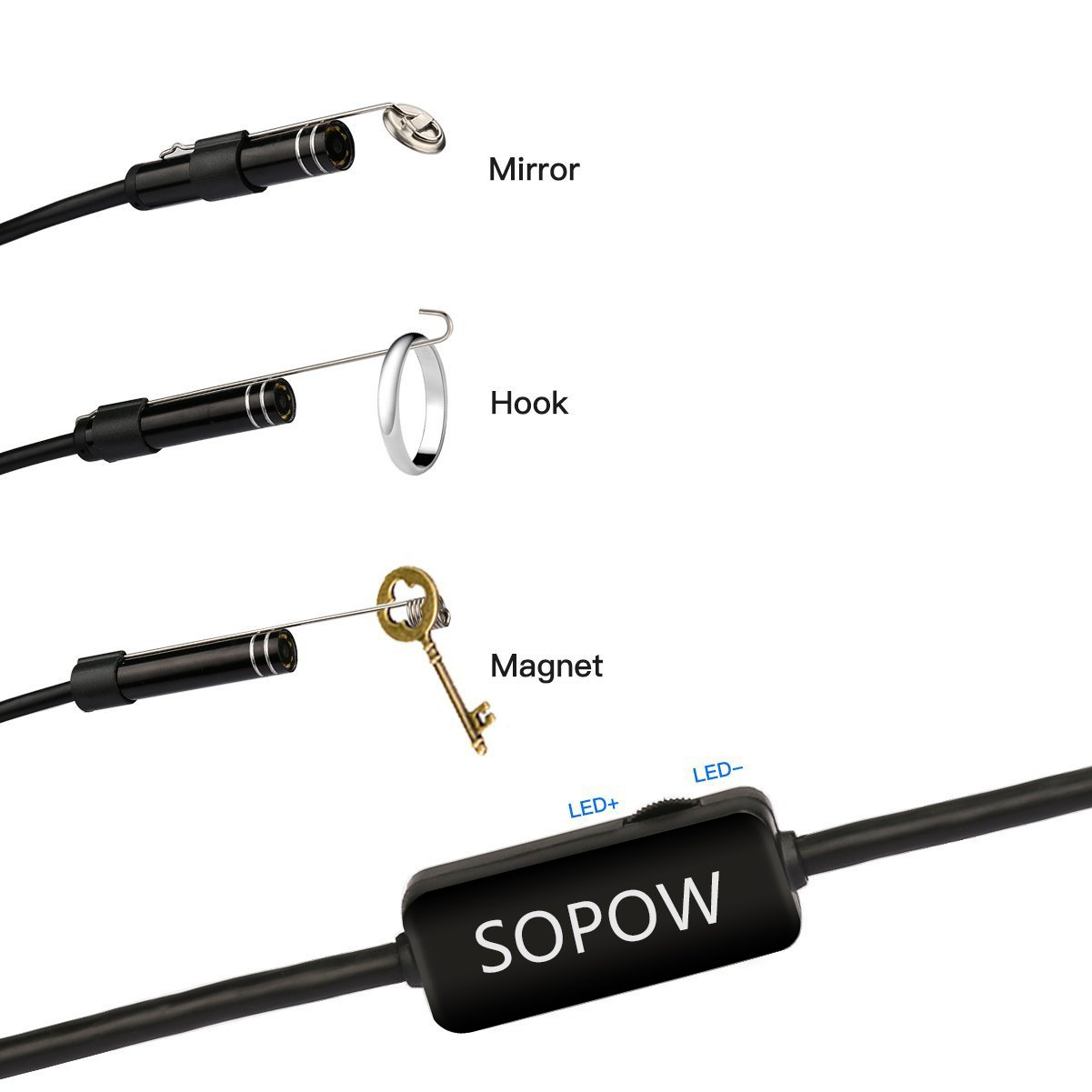 HD Endoscope USB Type C, SOPOW Soft-wire Android Endoscope Borescope Inspection Camera HD Snake Camera with 8 Adjustable Led Lights for Android Tpye-C Smartphone and PC - 5M