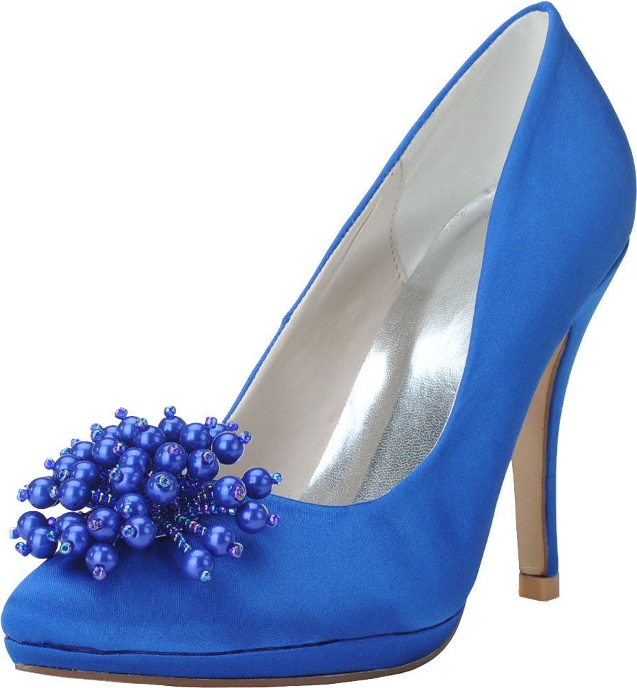 Find Nice - Sandalias con Cuña de Satén Mujer 39 1/3 EU Azul