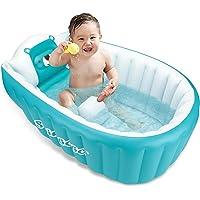 Bañera de bebé inflable portátil plegable mini piscina de viaje ayuda a los bebés a la bañera infantil (azul)