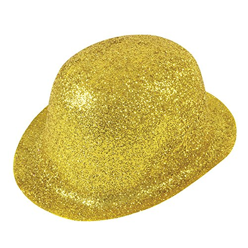 (Bristol Novelty BH087 Glitter Plastic Bowler Hat, Gold, One Size)