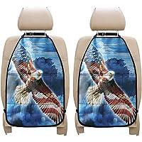 PZZ BEACH Car Kick Mats Back Seat Protector, Vintage American Flag Bald Eagle Printed, 2 Packs, Premium Quality Car Seat…
