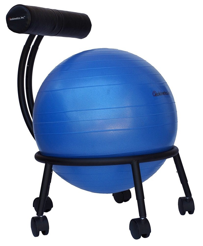 Isokinetics Inc. Brand Adjustable Fitness Ball Chair - Solid Black Metal Frame Finish - Exclusive: 60mm (2.5'') Wheels - Adjustable Base and Back Height - with Blue 55cm Ball and a Pump