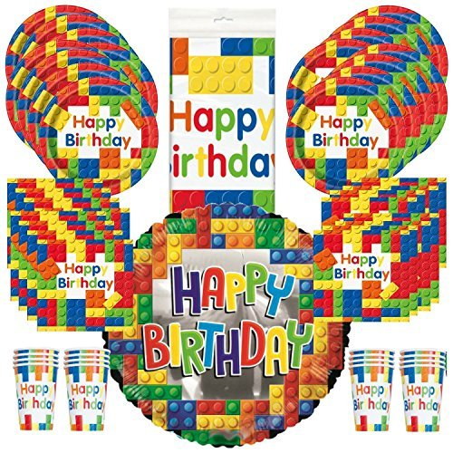 Building Block Birthday Party supplies, kit, pack, for 16 Guests - Plates, Cups, Napkins, Balloon, & Tablecover