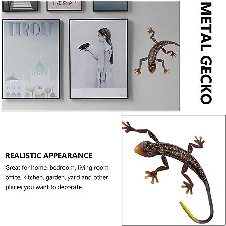 Wakauto Gecko de Metal Decoraci/ón de Pared Al Aire Libre Lagarto Jard/ín de Arte Estatuilla de Gecko Animal Colgante Esculturas de Pared de Metal Decoraciones para Jard/ín Decoraci/ón