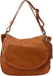 Tuscany Leather TLBag Soft leather shoulder bag with tassel detail Cognac