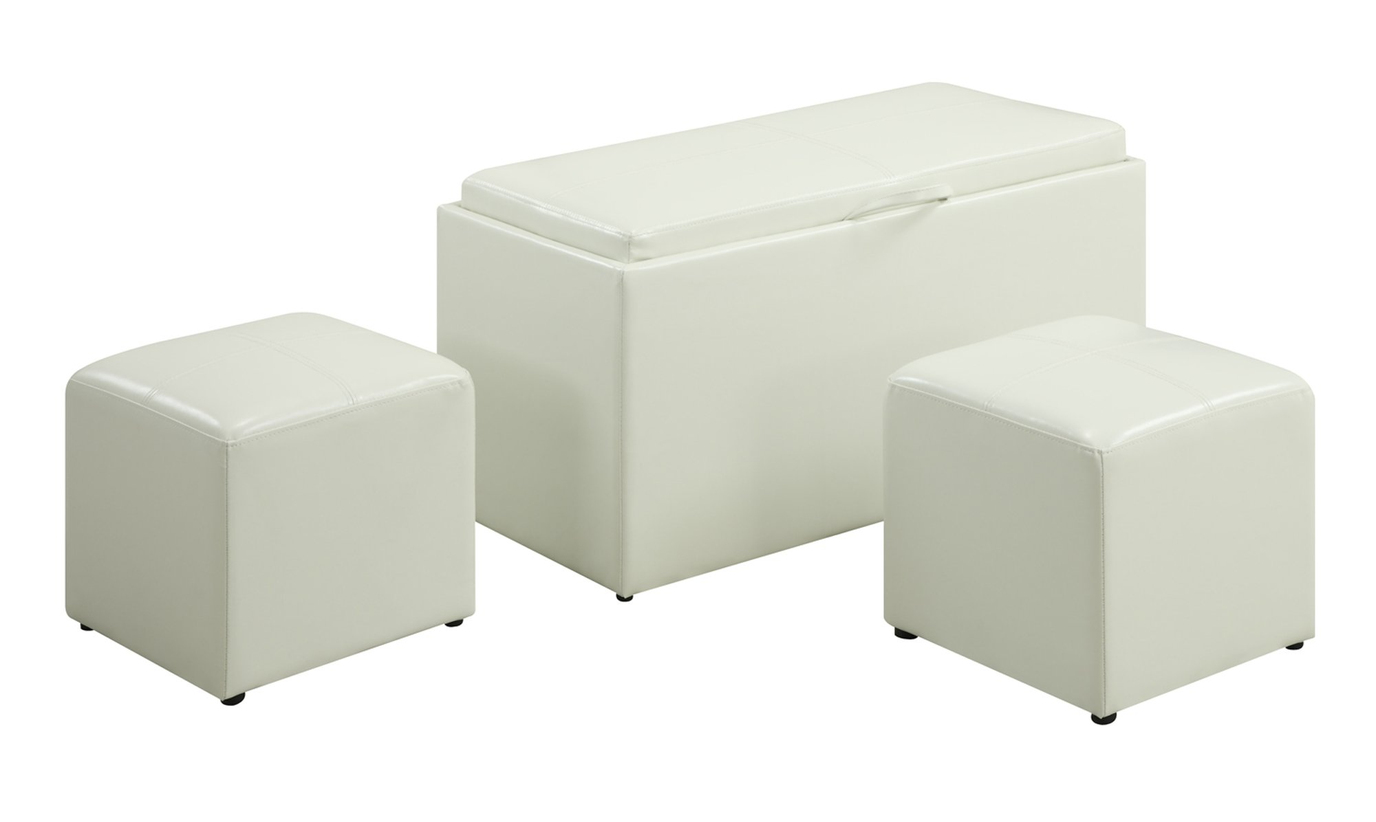 Convenience Concepts Designs4Comfort Sheridan Faux Leather Storage Bench with 2 Side Ottomans, White by Convenience Concepts