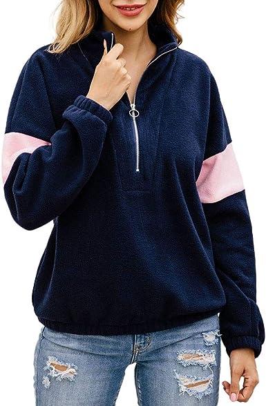 JiaMeng Sudaderas con Capucha para Mujer Franela Cremallera Patchwork Sudadera Manga Larga Jersey Camisa Blusa Superior Camiseta Casual T-Shirt Primavera Otoño: Amazon.es: Ropa y accesorios