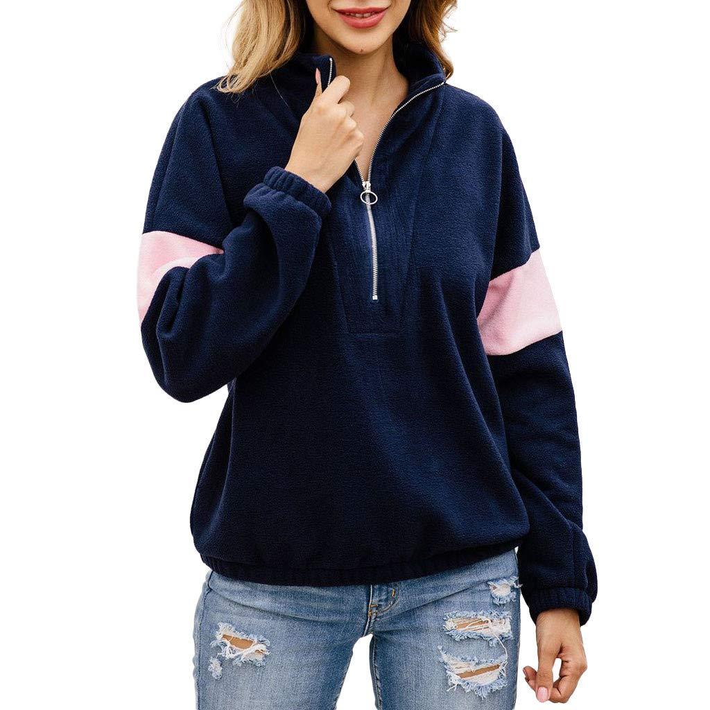 Qvwanle Women Fashion Autumn Winter Zipper Flannel Patchwork Long Sleeve Sweatshirt Pullover Shirt Tops Blouse (L, Navy)