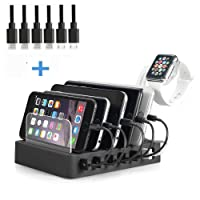 QC 3.0 Charging Station,60W 12A 6 Port Docking Stations & Desk Organizer with Quick Charge 3.0 & 5 Port USB Charger & Removable Apple iWatch Holder fit Multiple Devices iPhone/iPad/Tablet/iPhone/Samsung Galaxy/LG and More