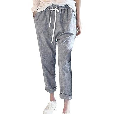 0176cc56e5cd ORANDESIGNE Pantalon Imprimé Rayé Femme Drawstring élastique Pantalons  Coton Lin Longs Slim Casual Crayon Pantalons Gris