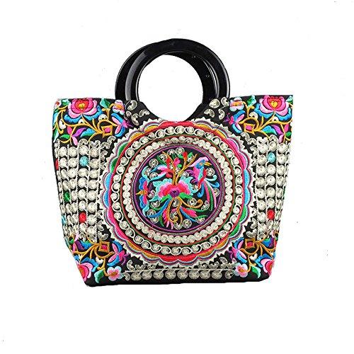 Vintage Boho Women Handbag Mandala Flower Embroidered Shoulder Totes Travel Shopping Bag