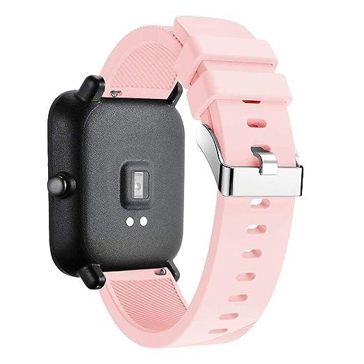 Malloom Repuesto de Correa Reloj de Silicona para Hombre y Mujer para Reloj Huami Amazfit Bip