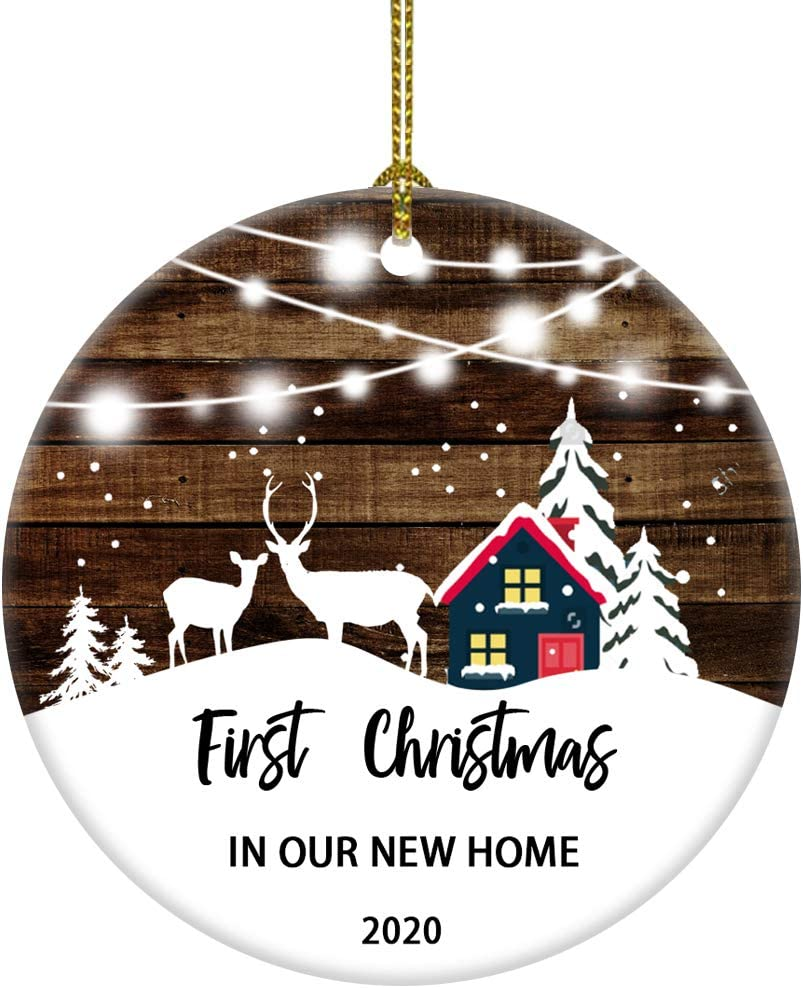 JUOOE 2020 First Christmas in Our Home Christmas Tree House Snow Deer Ornament Gift for Newlywed Couple 2020 (3inch New Home)