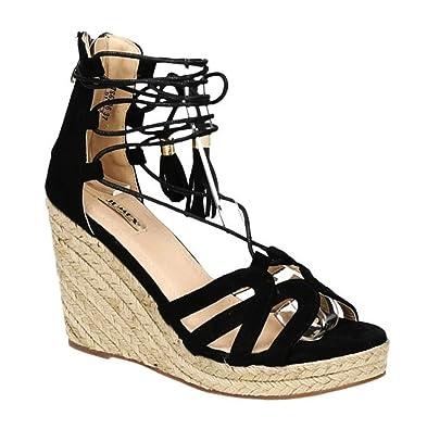 Trendige Damen Riemchen Keil Sandaletten Pumps Keilabsatz Wedges Keilpumps High Heels Peep Toes Schuhe Bequem 06 (38, Schwarz) King Of Shoes
