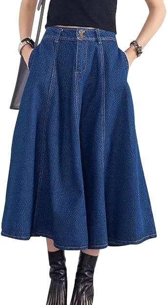 ZhuiKun Falda Vaquera Mujer Falda de Mezclilla Faldas Plisada ...