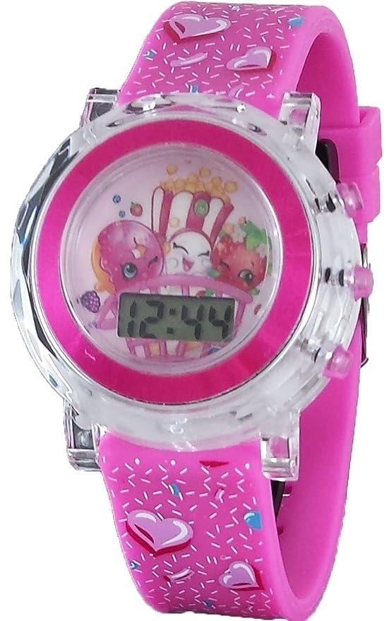 Amazon.com: Shopkins Dlish Donut, Poppy Corn, Strawberry Kiss Girls Digital Light Up Pink Watch (KIN4051): Watches
