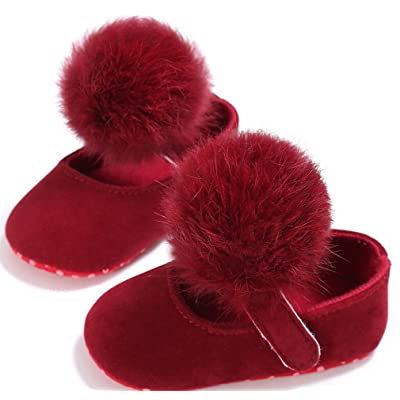 0-18M Toddler Baby Girl Soft Plush Princess Shoes Cute Pom Shoes